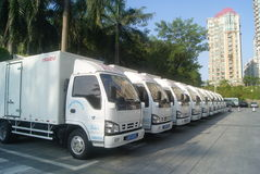 Shenzhen, China: a row of small truck Stock Photos