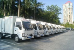 Shenzhen, China: a row of small truck Royalty Free Stock Images