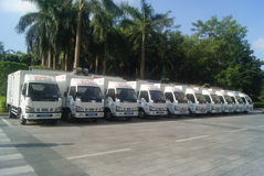 Shenzhen, China: a row of small truck Stock Photography