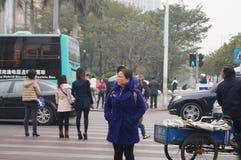 Shenzhen, China: running the red traffic light tourists Stock Photography