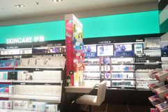 Shenzhen, China: sales shop for cosmetics and beauty products Stock Photos