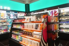 Shenzhen, China: sales shop for cosmetics and beauty products Stock Images