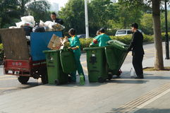 Shenzhen, China: sanitation workers in garbage removal Stock Photos