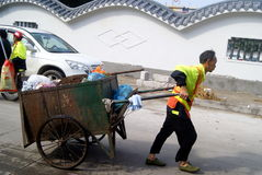 Shenzhen, china: sanitation workers Royalty Free Stock Images