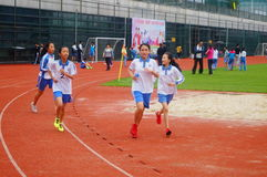 Shenzhen, China: a selection of elite track and field athletes in primary and secondary schools Royalty Free Stock Photography