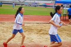 Shenzhen, China: a selection of elite track and field athletes in primary and secondary schools Royalty Free Stock Photo