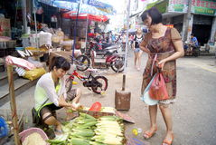 Shenzhen china: sell corn women Stock Image