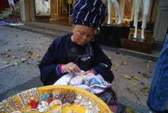 Shenzhen, China: sell Miao silver jewelry Stock Photography