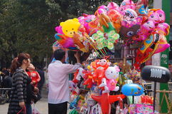 Shenzhen, China: selling balloons toy Stock Image