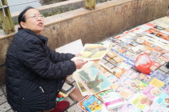 Shenzhen, China: selling old books Royalty Free Stock Images