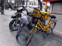 Shenzhen, China: send fast food takeaway bicycle Stock Image