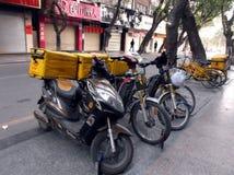 Shenzhen, China: send fast food takeaway bicycle Royalty Free Stock Photos