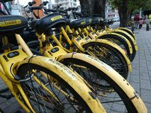 Shenzhen, China: Shared Bicycles Parked on the Street stock image