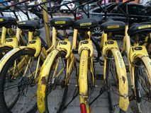 Shenzhen, China: Shared Bicycles Parked on the Street royalty free stock photos