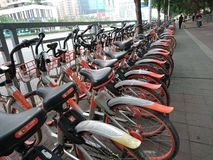 Shenzhen, China: Shared Bicycles Parked on the Street stock photography