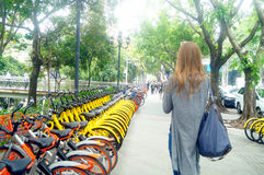 Free Shenzhen, China: Sharing Bicycles On The Streets Stock Photos - 90557623