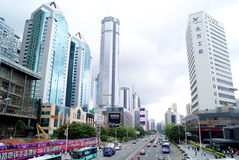 Shenzhen china: shen nan road and buildings Stock Photography
