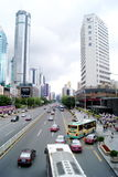 Shenzhen china: shen nan road and buildings Royalty Free Stock Photos