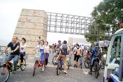Shenzhen, china: shenzhen bay park visitors to ride a bicycle royalty free stock photo