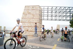 Shenzhen, china: shenzhen bay park visitors to ride a bicycle Stock Images