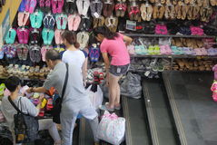 Shenzhen, China: shoes and clothes wholesale market Royalty Free Stock Images