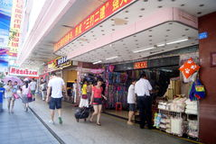 Shenzhen, China: shoes and clothes wholesale market Stock Photo