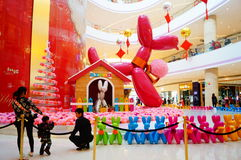 Shenzhen, China: shopping mall interior landscape. Shenzhen Baoan Hai Ya BinfenCheng, the interior of the building landscape, a dog sculpture, etc.. Very Royalty Free Stock Photo