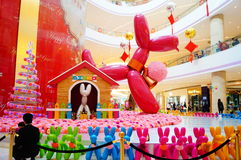 Shenzhen, China: shopping mall interior landscape. Shenzhen Baoan Hai Ya BinfenCheng, the interior of the building landscape, a dog sculpture, etc. Very Stock Images