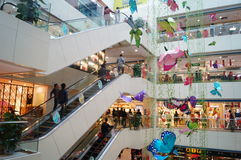 Shenzhen, China: shopping mall interior landscape. Shenzhen Baoan Tian Hong shopping mall interior landscape. Today is international women's day, the shopping Stock Image
