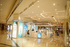 Shenzhen, China: shopping mall interior landscape. Shenzhen Haiya Baoan Binfen City shopping mall interior landscape. This is the cosmetics area Stock Image