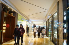 Shenzhen, China: shopping mall interior landscape. Shenzhen Yitian Holiday Plaza shopping mall interior landscape Royalty Free Stock Photo