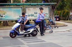 Shenzhen, China: Sicherheitsbeamtemitglieder Lizenzfreies Stockfoto