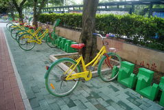 Shenzhen, China: sidewalk bicycle facilities Royalty Free Stock Photos