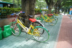 Shenzhen, China: sidewalk bicycle facilities Royalty Free Stock Photo