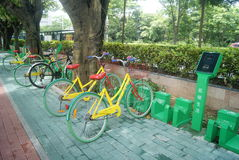 Shenzhen, China: sidewalk bicycle facilities Stock Photo