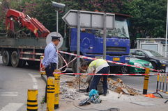 Shenzhen, China: sidewalk construction Royalty Free Stock Photography