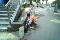Shenzhen, China: sidewalk construction Royalty Free Stock Photos