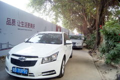 Shenzhen, china: sidewalk disorderly park vehicles Royalty Free Stock Images