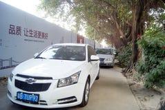 Shenzhen, china: sidewalk disorderly park vehicles Royalty Free Stock Images