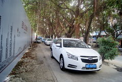 Shenzhen, china: sidewalk disorderly park vehicles Royalty Free Stock Photography