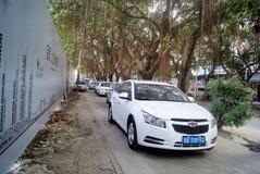 Shenzhen, china: sidewalk disorderly park vehicles Royalty Free Stock Photography