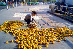 Shenzhen, china: on the sidewalk in the orange peel Stock Photos
