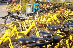 Shenzhen, China: sidewalks are full of shared bikes royalty free stock photography