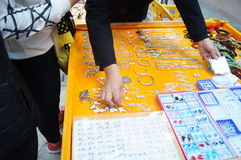 Shenzhen, China: silver jewelry stalls Stock Photo
