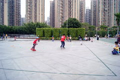 Shenzhen china: skating children and their parents Royalty Free Stock Photos