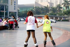 Shenzhen china: skating on the square Stock Image