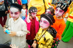 Shenzhen, China: small performers, after the show in the rest or remover Royalty Free Stock Photo