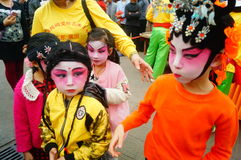 Shenzhen, China: small performers, after the show in the rest or remover Royalty Free Stock Images