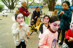 Shenzhen, China: small performers, after the show in the rest or remover Stock Photos