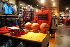 Shenzhen, china: sports clothing store Royalty Free Stock Photo